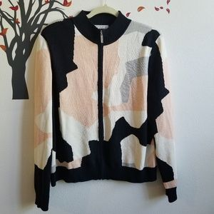 ST. JOHN SPORT Graphic Print Zip Knit Sweater XL